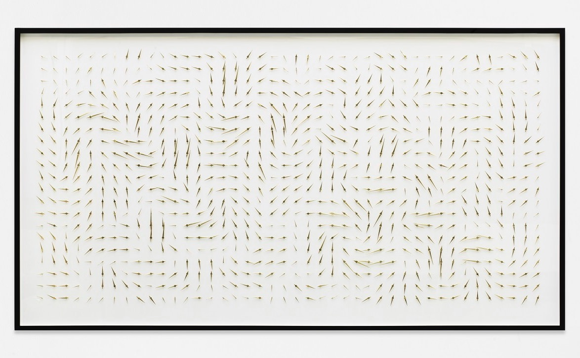 Alicja Kwade, 'Idol (90°)' (2017), brass, on cardboard, framed, unique, 125 × 227 × 5,5 cm Courtesy line: Image courtesy the artist, Arndt Art Agency (A3) and König Galerie, Berlin