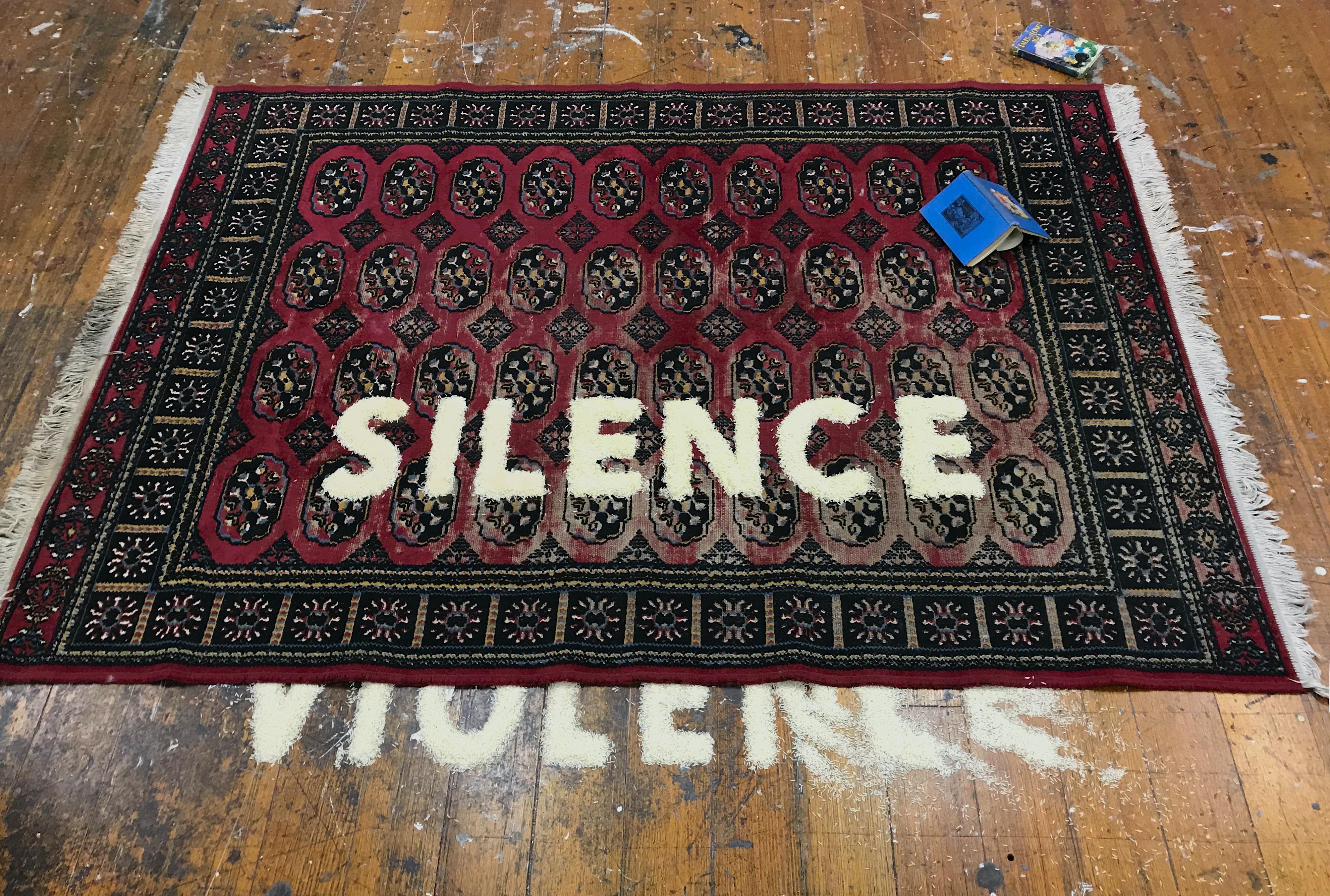 Claire Bridge - 3 Bridge Claire-Silence-Violence-2018-handwoven Bokhara rug-basmati rice- vintage books- 170 x 240cm with variable dimensions.jpg