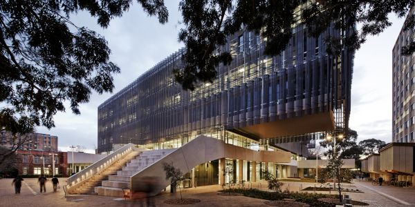 Melbourne School of Design at dusk, John Wardle Architects JV NADAAA. Photo by Peter Bennetts.