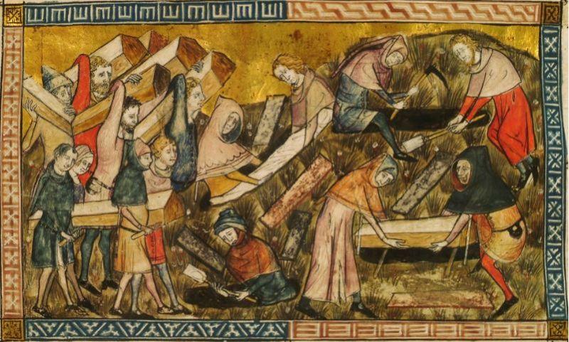 Miniature by Pierart dou Tielt illustrating the Tractatus quartus bu Gilles li Muisit (Tournai, c. 1353). The people of Tournai bury victims of the Black Death. ms. 13076 - 13077 fol. 24v. Pierart dou Tielt (fl. 1340-1360)